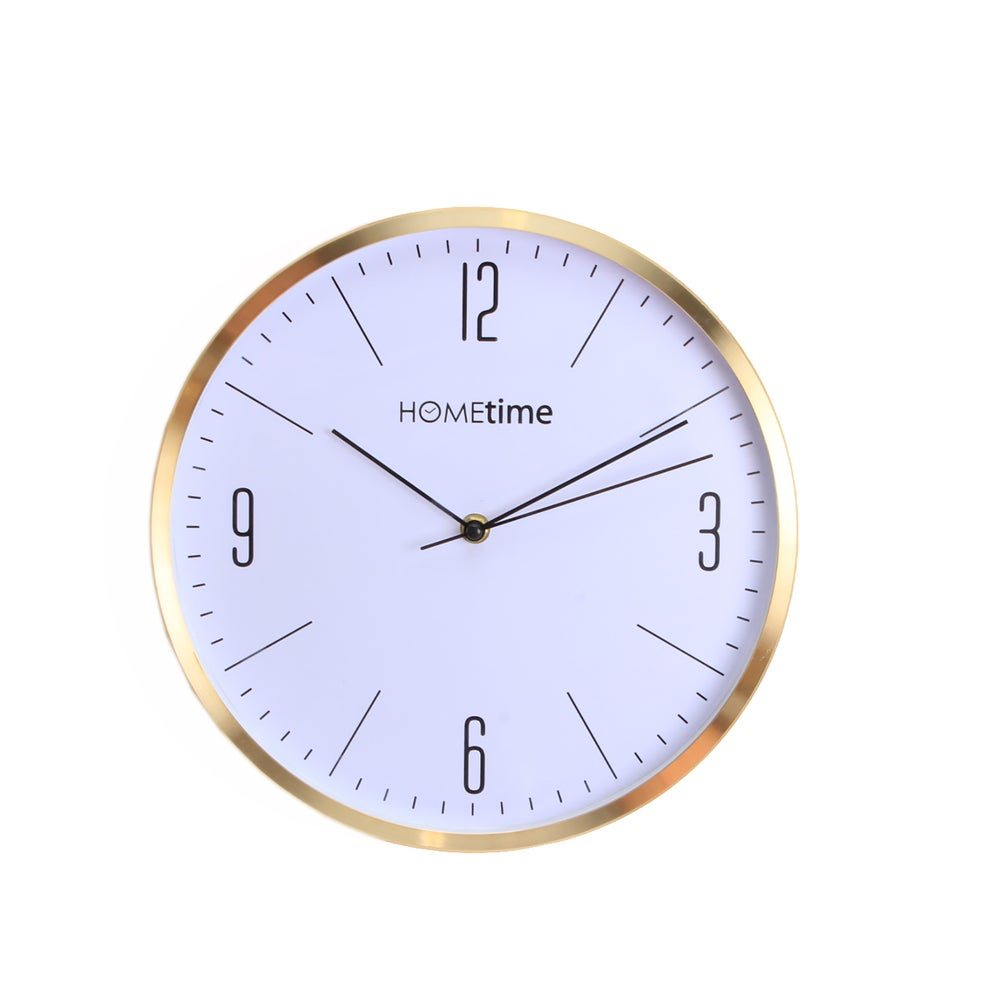 Image of Metal Brass Gold Clock with White Face 30cm