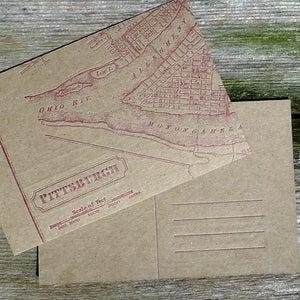 Image of Vintage Pittsburgh Map Postcards