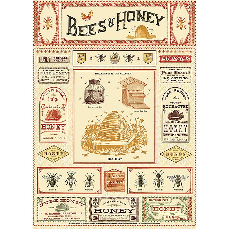 Image of Cavallini Bees & Honey Wrapping Paper