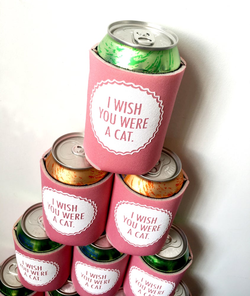 Image of I Wish You Were A Cat- screen-printed can cooler-black or mint