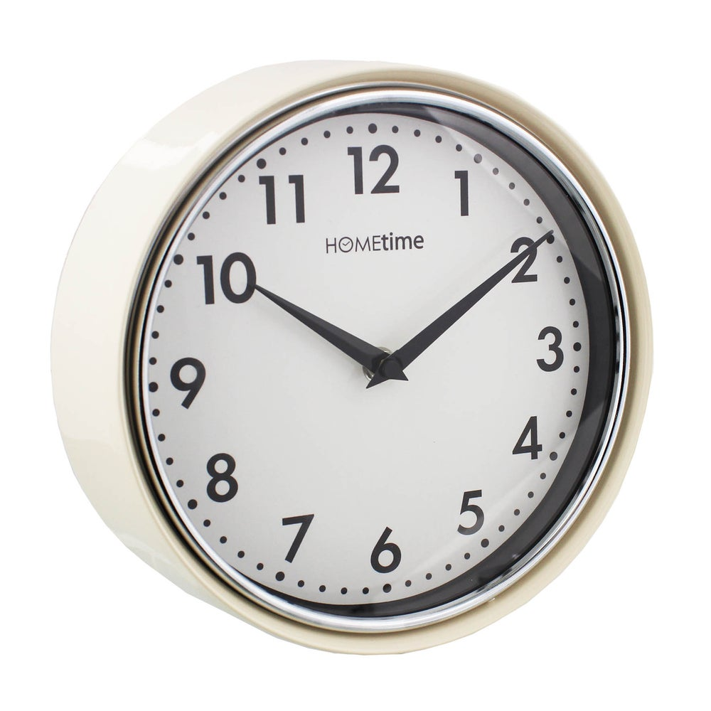 Image of Metal Deep Case Cream Wall Clock with White Face 21cm