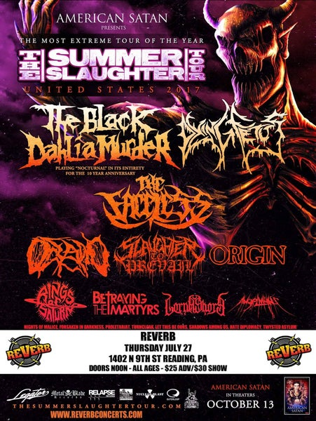 Image of $25 Summer Slaughter Tour @ Reverb