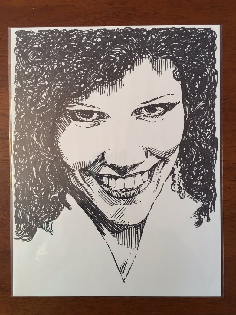"Image of Poison Ivy Rorschack The Cramps the Queen Punk Legend Original 8.5""X11"" Sharpie Sketch"