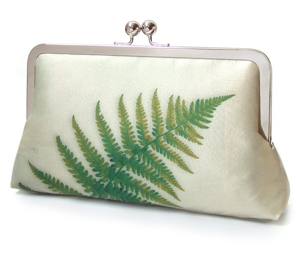 Green Ferns - a Red Ruby Rose original silk clutch purse - Red Ruby Rose