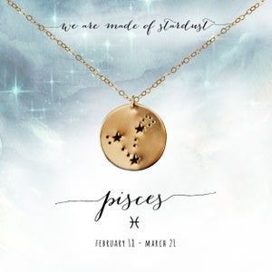 Image of Pisces Constellation Necklace- 14kt Yellow Gold Fill