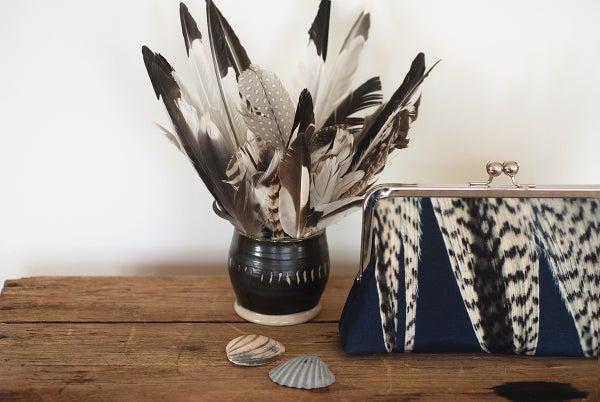 Feather stripe clutch bag, silk purse, blue white - Red Ruby Rose