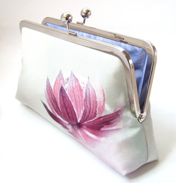 Pink flower clutch purse, printed silk purse, astrantia lily lotus blossom - Red Ruby Rose