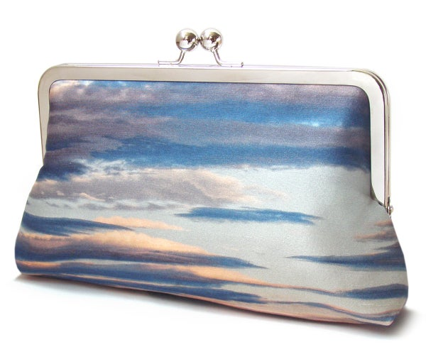 Clouds clutch purse, silk sunset bag, blue stripe sky - Red Ruby Rose