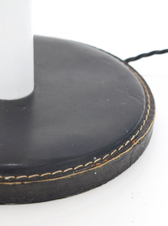 Image of Modernist Table Lamp with Black Leather Details
