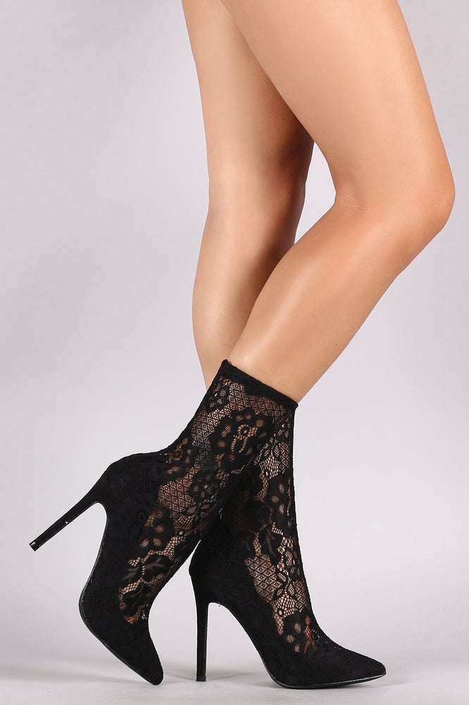 Image of Black Lace Pump Bootie