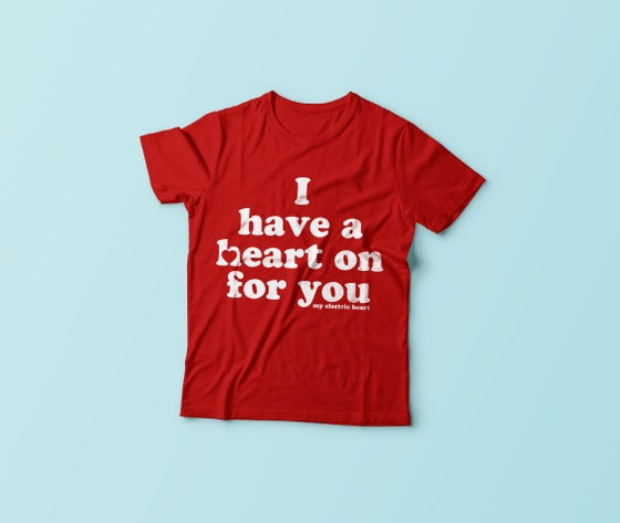 Image of Heart On Retro Tee - Red