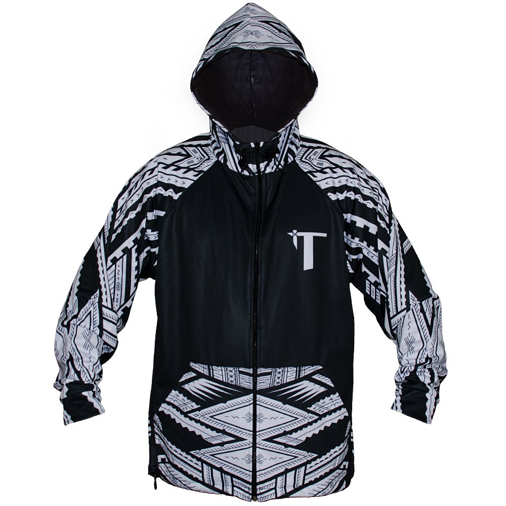 Image of Tatau/Samoan Mike Colab Black/White Zip Hoodie