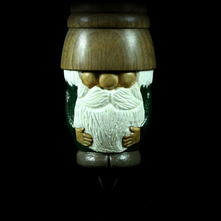 Image of Gnome support spindle in carved maple and walnut