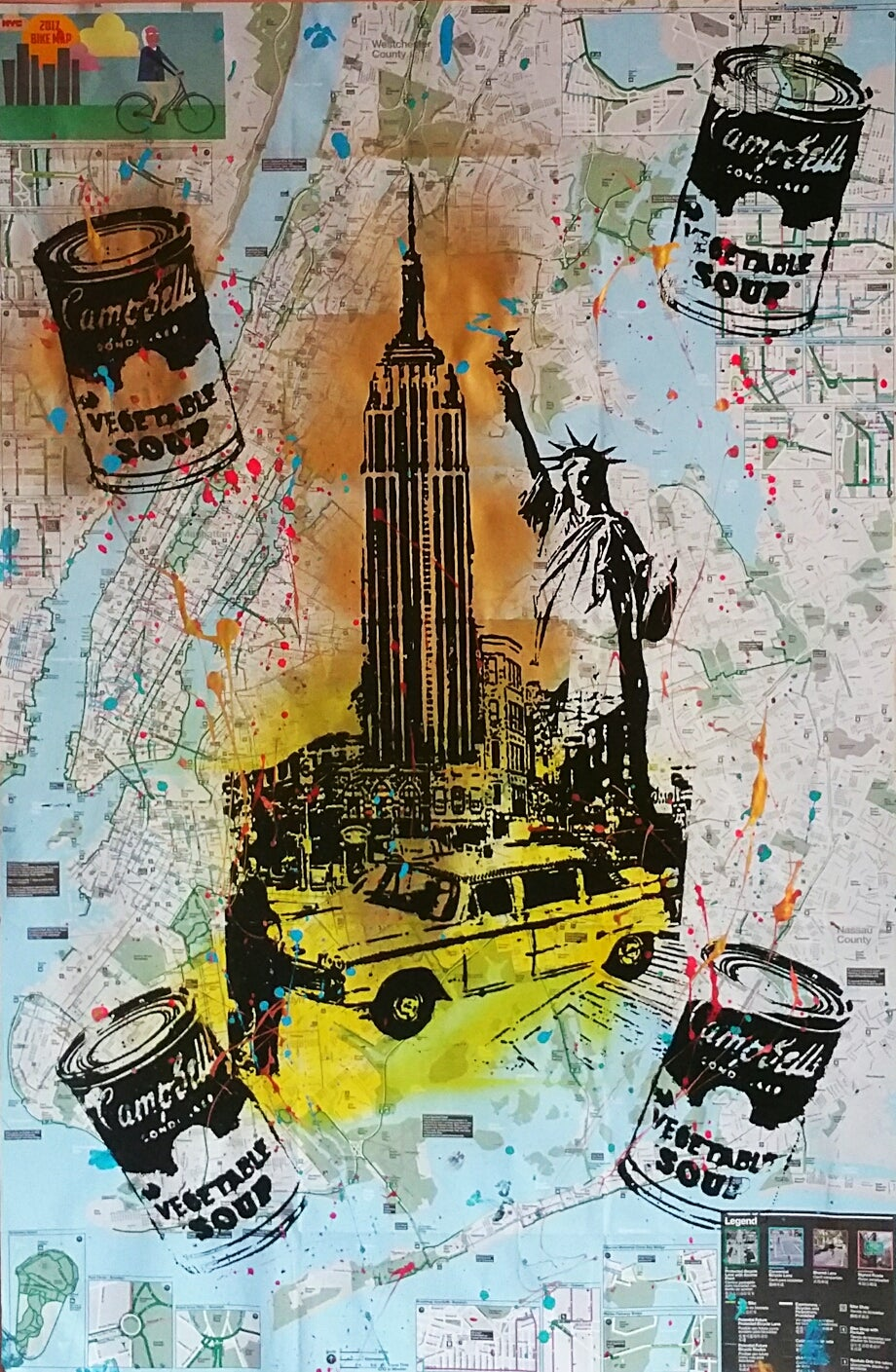 MAXINE POWERS  EMPIRE STATE BUILDING STATUE OF LIBERTY ORIGINAL - Nyc map empire state building