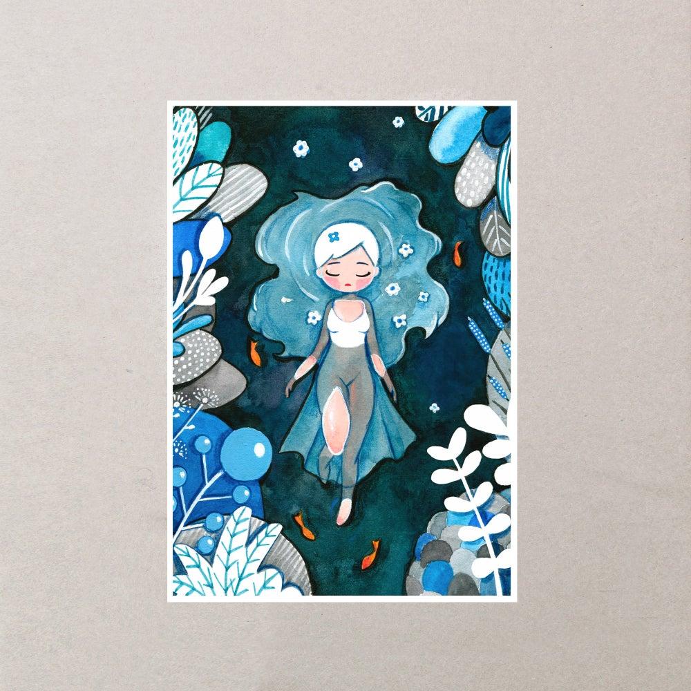 Image of OPHELIA - LADY OF THE LAKE ILLUSTRATION PRINT A5