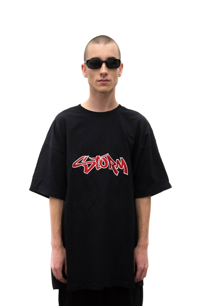 Image of Black Oversized Embroidered Retro Logo T-shirt