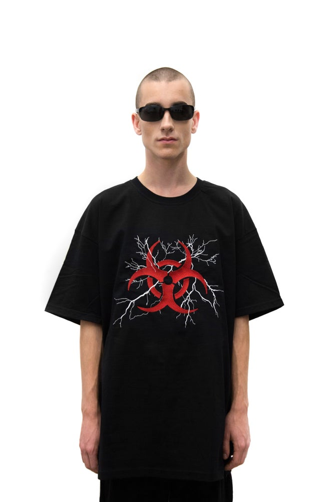 Image of Black Oversized Embroidered Biohazard  T-shirt