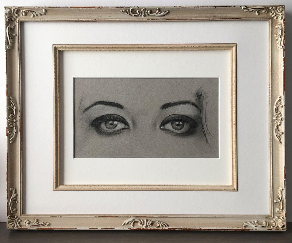 Image of Chantal's Eyes study - Framed Drawing