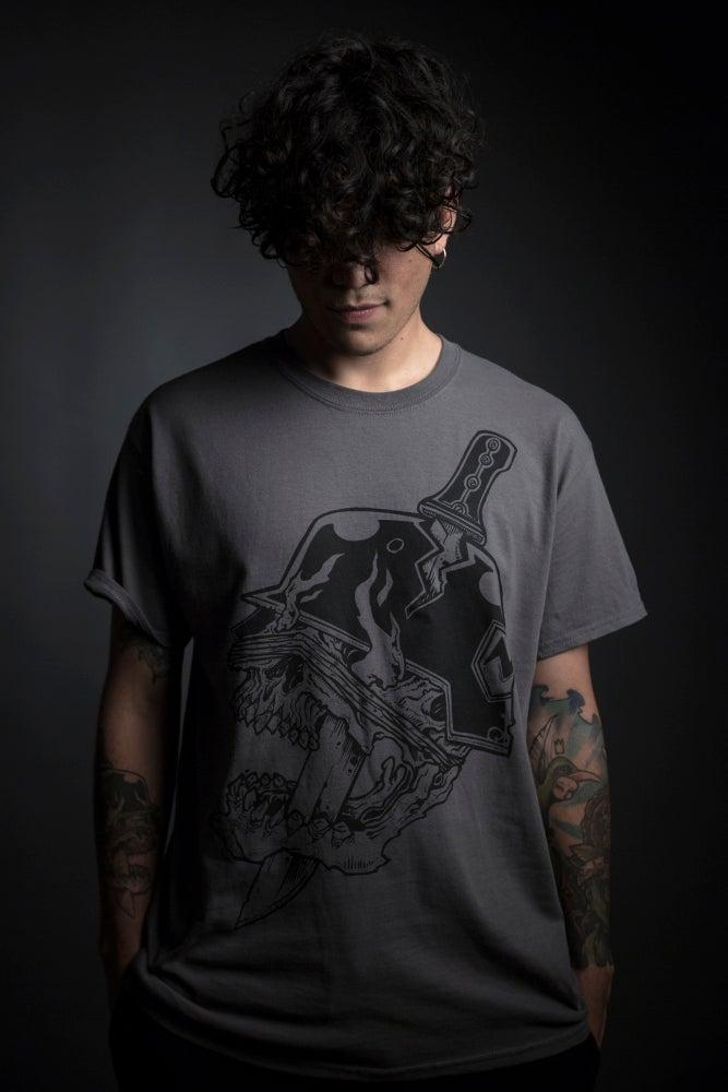 "Image of Machete ""Classic Logo Grey Charcoal"" T-shirt"