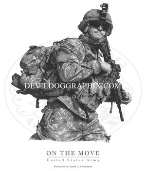 """Image of """"ON THE MOVE"""" U.S. SOLDIER DRAWING PRINT"""
