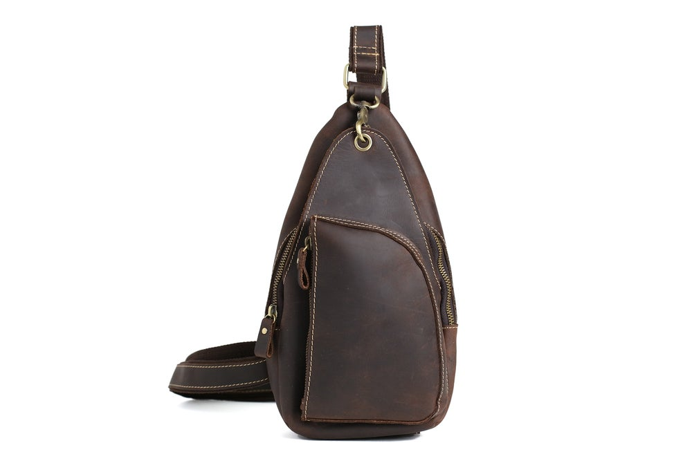 Image of Handcrafted Genuine Leather Men Chest Bags Leisure Chest Pack Men Messenger Bags 8888