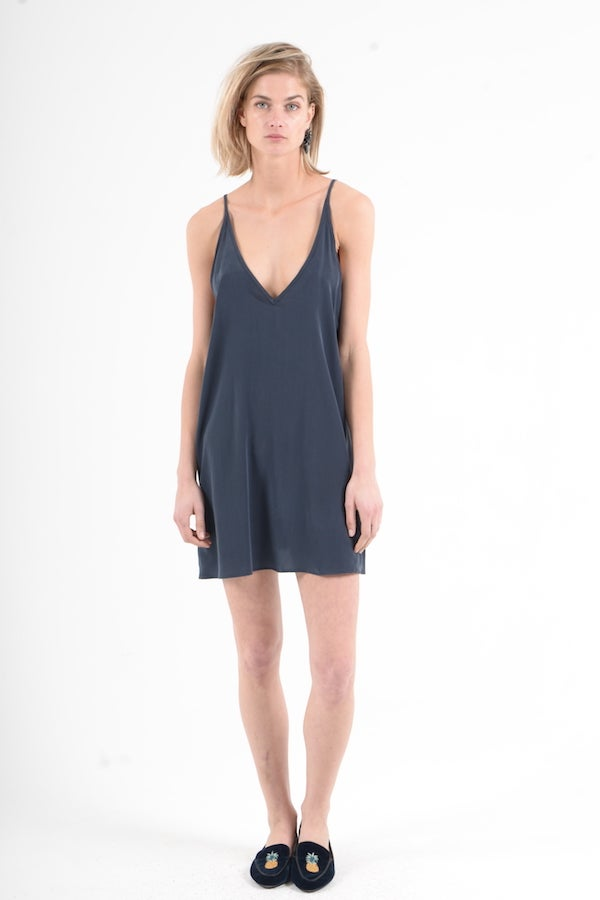 Image of Sam & Lavi Silk Slip Dress in Navy