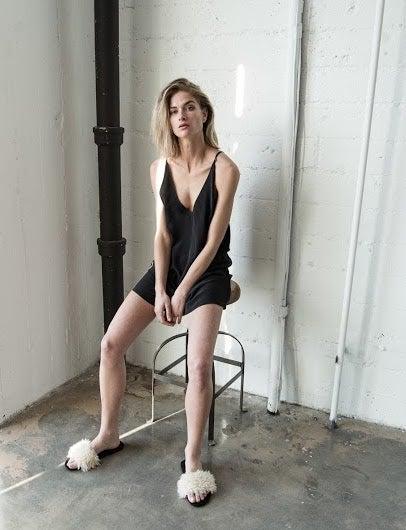 Image of Sam & Lavi Silk Slip Dress in Black