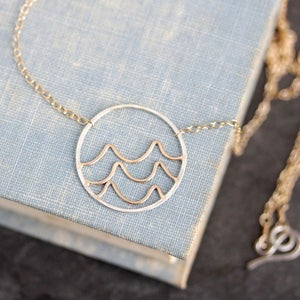 Image of Oceana Necklace, Handmade Pendant With Ocean Waves, Nature Inspired Design For The Beach Lover