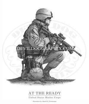 "Image of ""AT THE READY"" U.S. MARINE DRAWING PRINT"