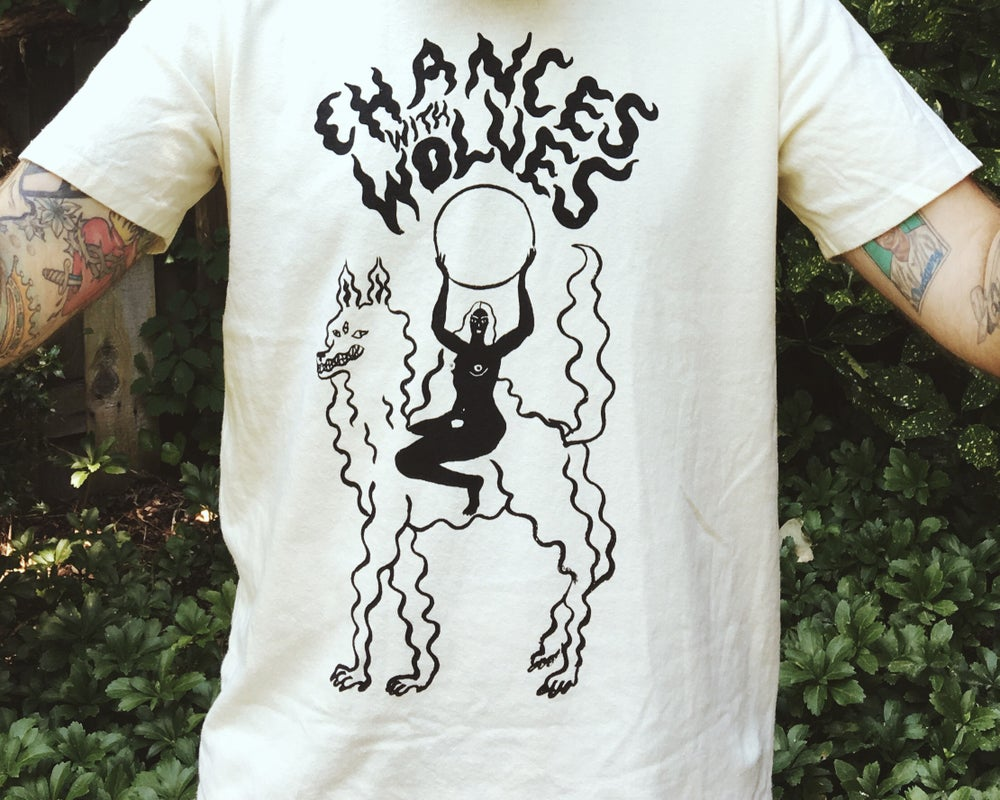 Image of SOUND WAVE WOLF + FULL MOON GODDESS T SHIRT