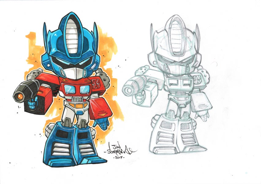 Image of Chibi Optimus Prime Original Art