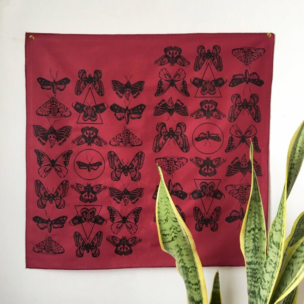 Image of Moth Print Bandana in Burgundy and Black