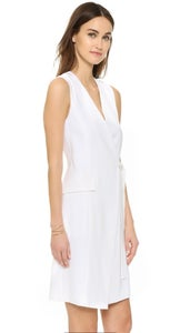 Image of Theory-White Livwilth Soft Crepe Wrap Dress