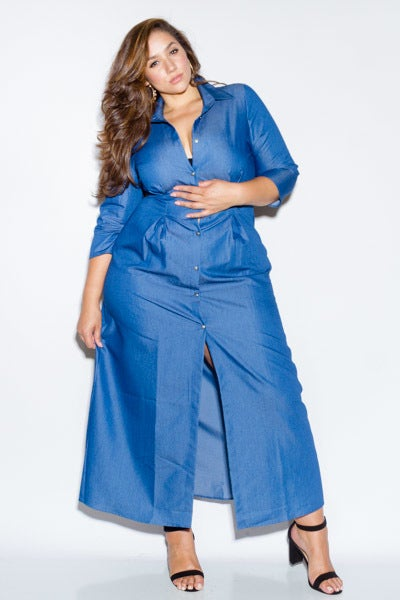 Image of denim mary maxi