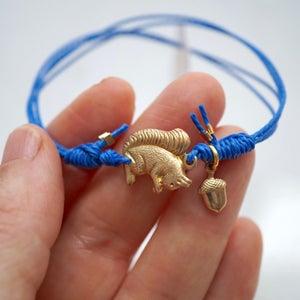 Image of Squirrel and acorn friendship bracelet ,woodland bracelet,acorn lucky charm