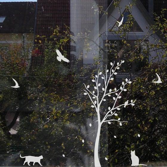 Image of Fensteraufkleber Baum mit Tieren