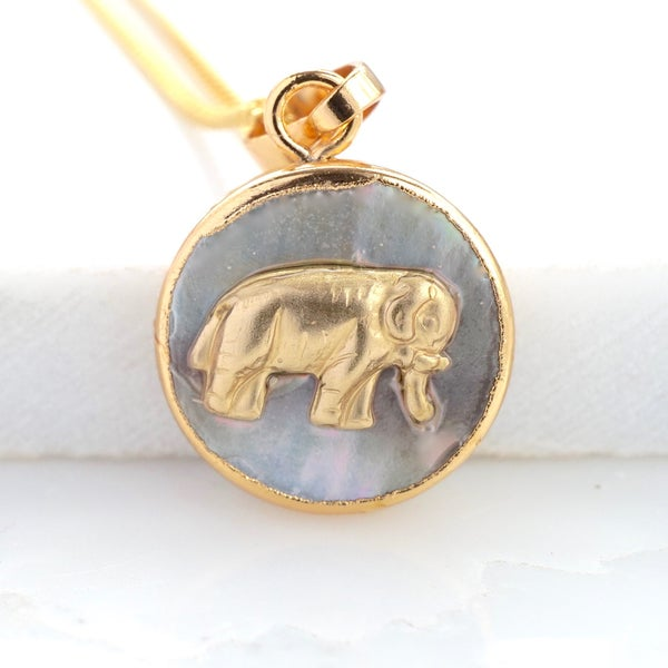 Image of Mother of pearl and elephant disc necklace