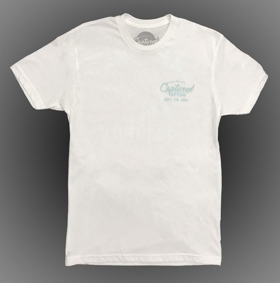 Image of *New* White Captured Tattoo Studio T-Shirt