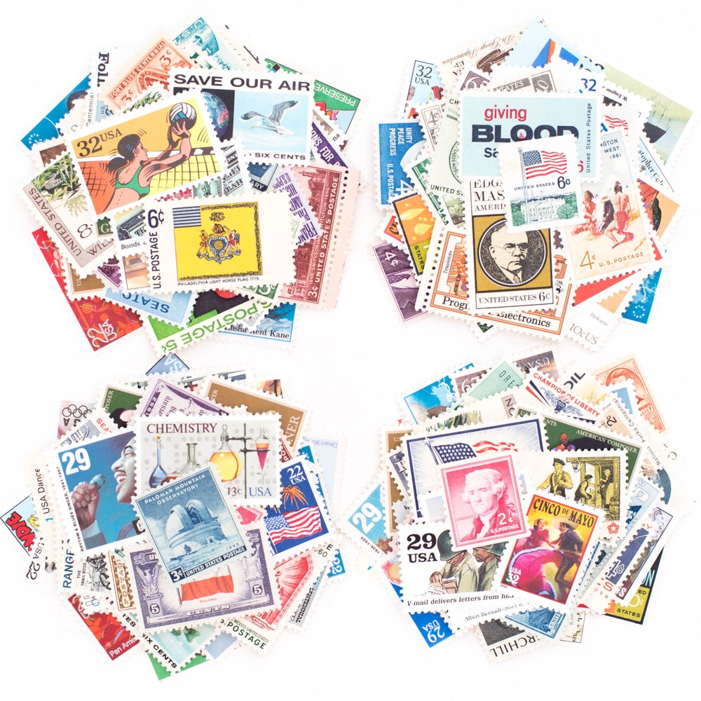 Image of Vintage Postage Stamps at Face Value - $10