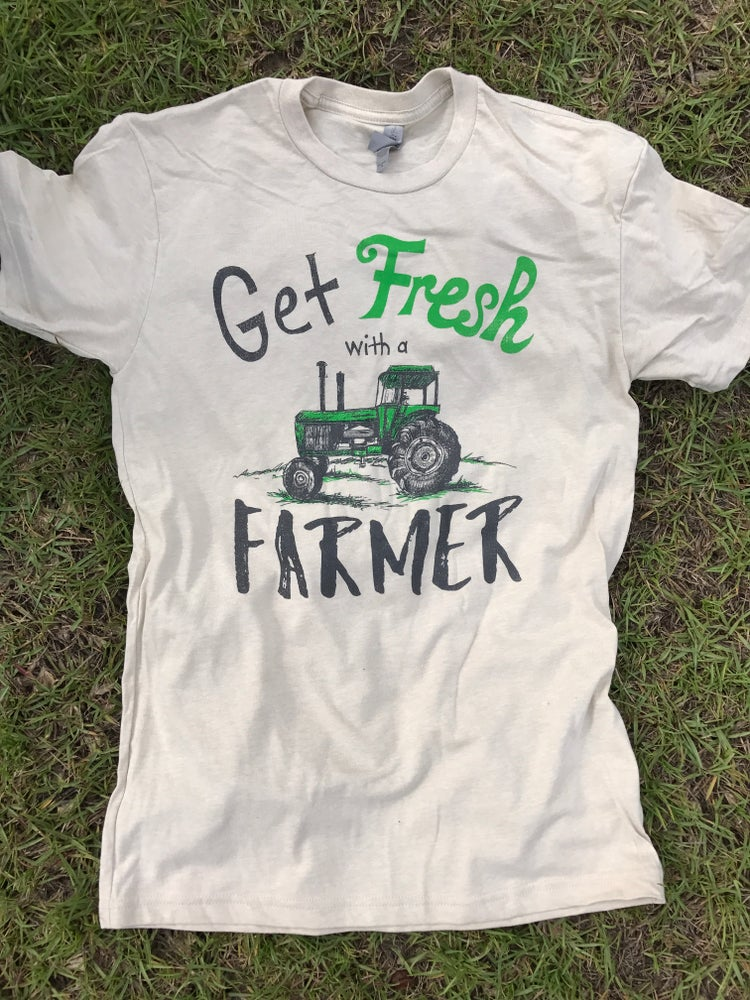 """Image of Adult """"Get Fresh with a Farmer"""" Crew Neck Tee"""