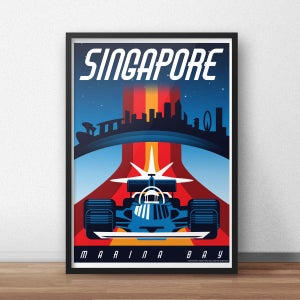 Image of Singapore Night Race Vintage-Style Travel Poster (pre-order)