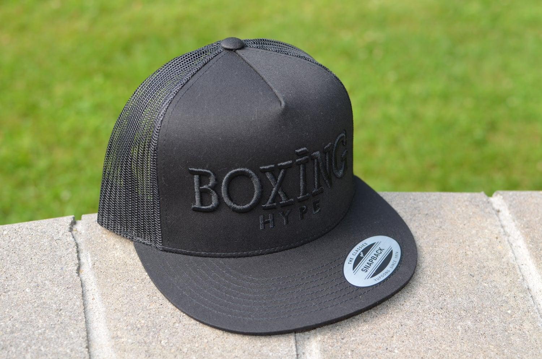 Image of Black on Black leather Snapbacks