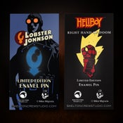 Image of Hellboy/B.P.R.D.: Limited Edition Enamel Right Hand of Doom and Lobster Johnson pin set!