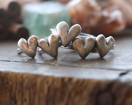 Image of Hand sculpted heart single stacking ring in fine silver