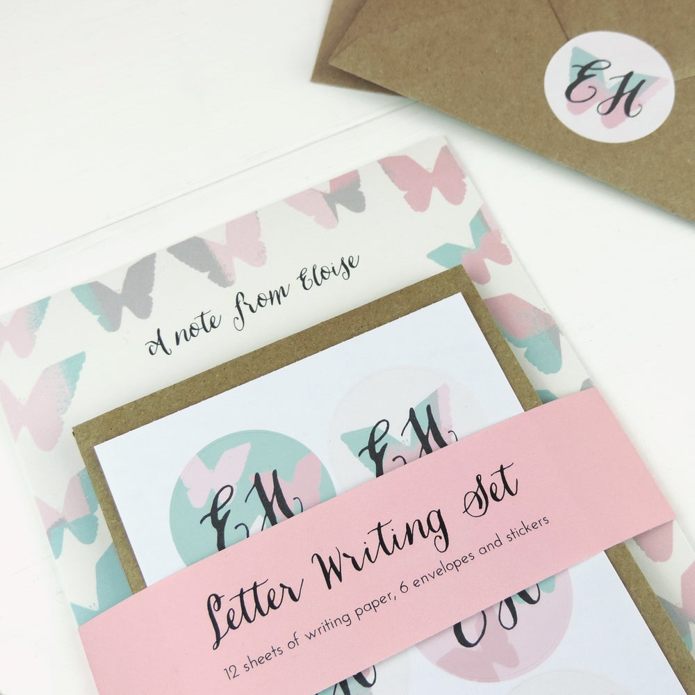 Image of Personalised Butterfly Letter Writing Set