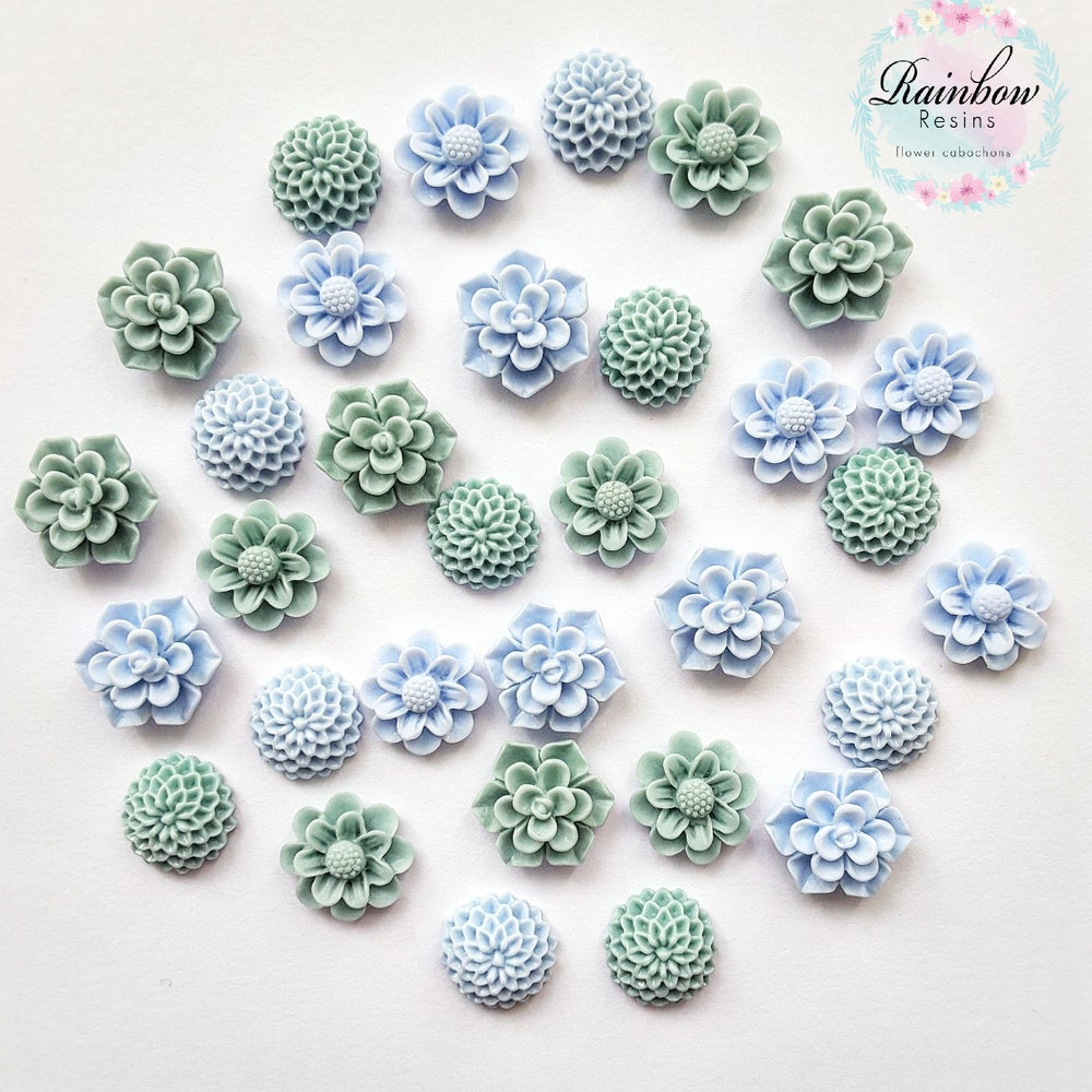 Image of Baby blue and sea green sample mix