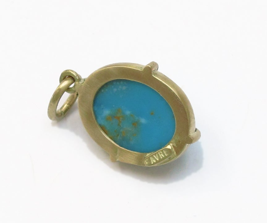Image of Turquoise Scarab Charm 18k