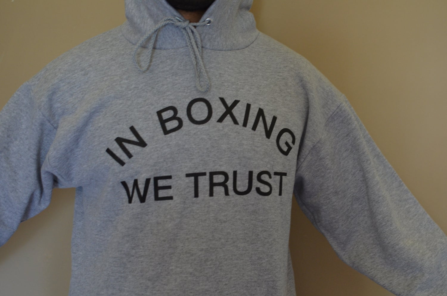 Image of Mens Heather Gray in Boxing we Trust Hoodies