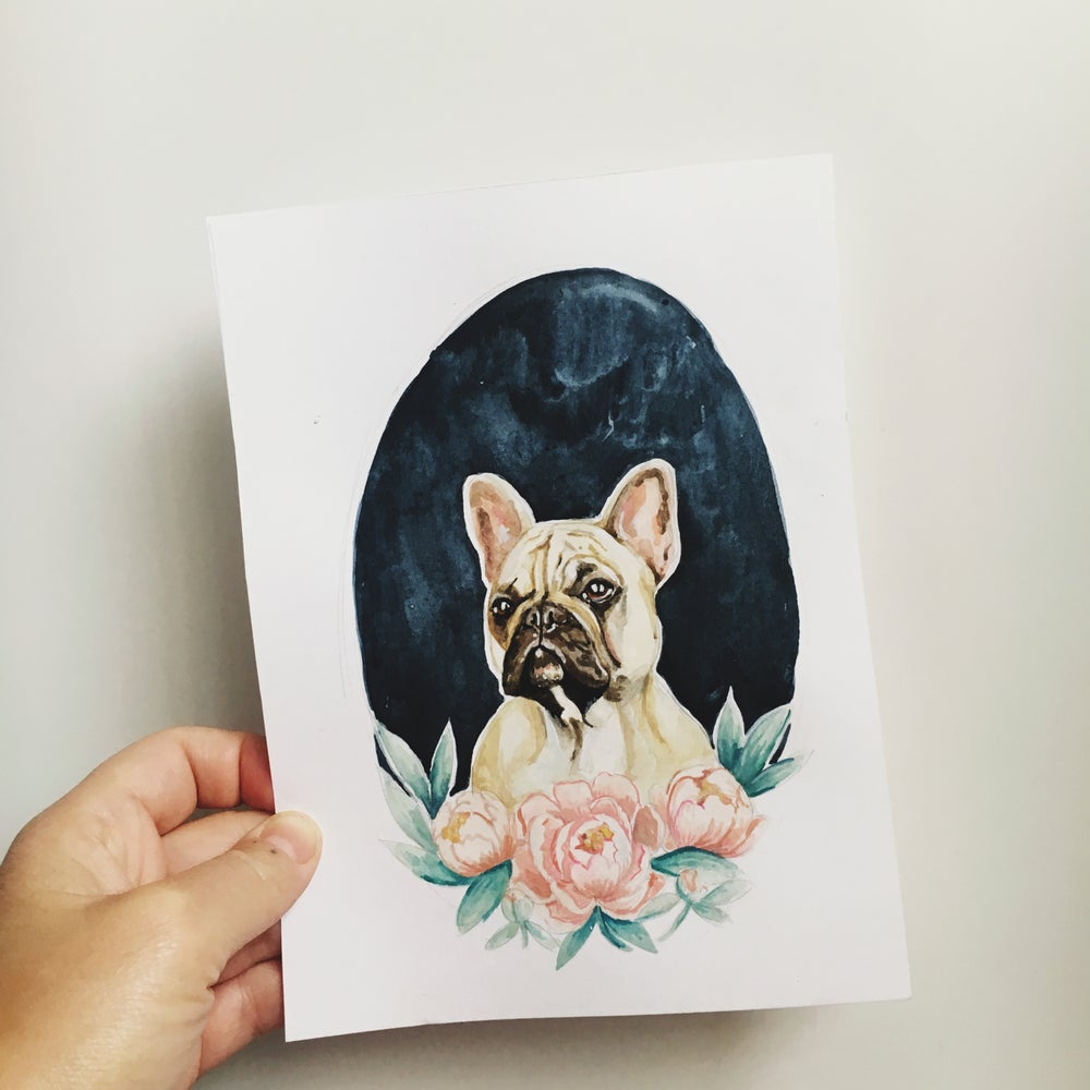 Image of Realistic pet portrait with realistic flowers