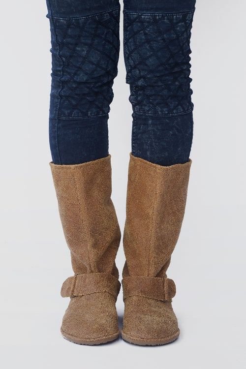 Image of Slouchy Suede boots - in Cracked Tobacco leather